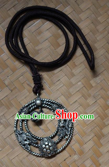 Traditional Chinese Miao Nationality Crafts Jewelry Accessory, Hmong Handmade Miao Silver Dragon-Phoenix Pendant, Miao Ethnic Minority Necklace Accessories Sweater Chain Pendant for Women