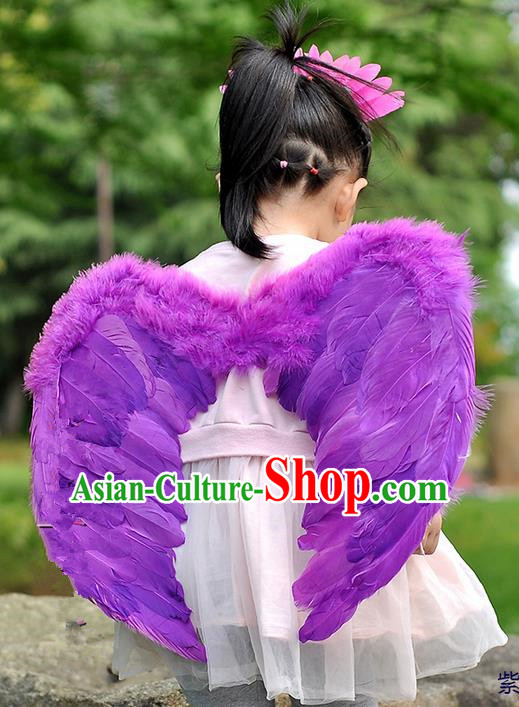 Chinese Children Kindergarten Stage Performance Prop Angel Purple Feather Butterfly Wings for Kids