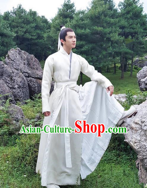 Traditional Ancient Chinese Nobility Childe Costume, Elegant Hanfu Male Lordling Dress, Cosplay Han Dynasty Scholar Clothing, China Swordsman White Clothing for Men