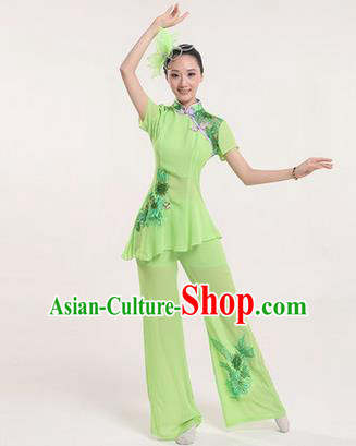 Traditional Chinese Yangge Fan Dancing Costume, Folk Dance Yangko Costume Drum Dance Clothing for Women