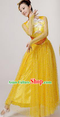 Traditional Chinese Modern Dancing Costume, Women Opening Classic Stage Performance Chorus Singing Group Dance Paillette Costume, Folk Dance Yangko Costume, Modern Dance Long Yellow Peony Dress for Women