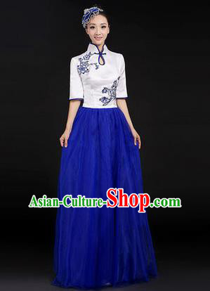 Traditional Chinese Modern Dancing Costume, Women Opening Classic Chorus Singing Group Dance Paillette Costume, Modern Dance Long Blue Mandarin Collar Dress for Women