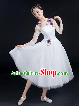 Traditional Chinese Modern Dancing Costume, Women Opening Classic Stage Performance Chorus Singing Group Dance Costume, Modern Dance White Bubble Dress for Women