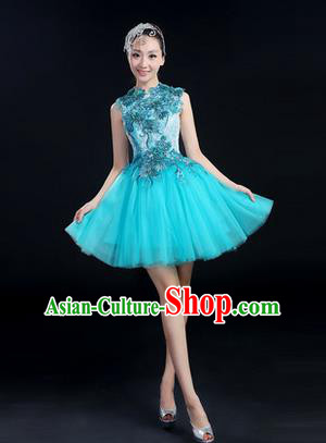 Traditional Chinese Modern Dancing Costume, Women Opening Classic Chorus Singing Group Dance Paillette Costume, Modern Dance Short Blue Bubble Dress for Women
