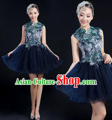 Traditional Chinese Modern Dancing Costume, Women Opening Classic Chorus Singing Group Dance Paillette Costume, Modern Dance Short Deep Blue Bubble Dress for Women