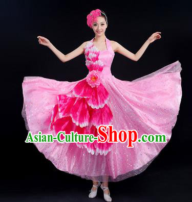 Traditional Chinese Modern Dancing Costume, Women Opening Classic Chorus Singing Group Dance Peony Costume, Folk Dance Costume, Modern Dance Pink Dress for Women