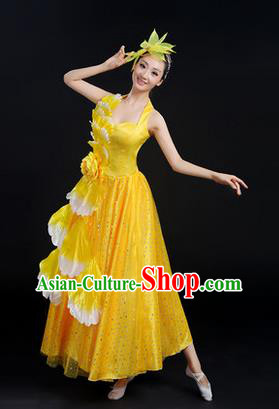 Traditional Chinese Modern Dancing Costume, Women Opening Classic Chorus Singing Group Dance Peony Costume, Folk Dance Costume, Modern Dance Yellow Dress for Women