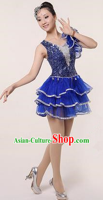 Traditional Chinese Modern Dancing Costume, Women Opening Classic Stage Performance Chorus Singing Group Dance Paillette Costume, Modern Dance Blue Bubble Dress for Women