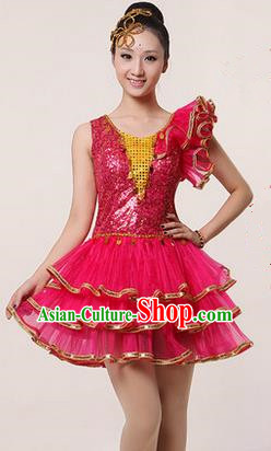 Traditional Chinese Modern Dancing Costume, Women Opening Classic Stage Performance Chorus Singing Group Dance Paillette Costume, Modern Dance Rose Bubble Dress for Women