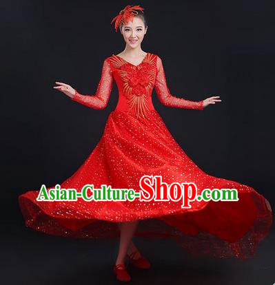 Traditional Chinese Modern Dancing Costume, Women Opening Classic Stage Performance Chorus Singing Group Dance Paillette Costume, Modern Dance Long Red Dress for Women