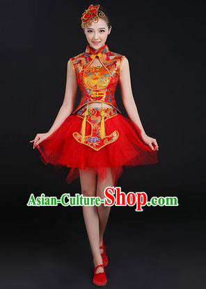 Traditional Chinese Modern Dancing Costume, Women Opening Classic Chorus Singing Group Dance Costume, Modern Dance Mandarin Collar Bubble Red Dress for Women