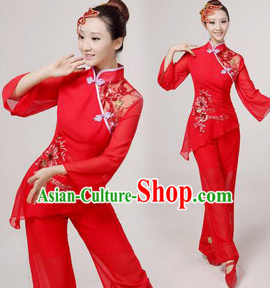 Traditional Chinese Yangge Fan Dancing Costume, Folk Dance Yangko Costume Drum Dance Red Embroider Clothing for Women