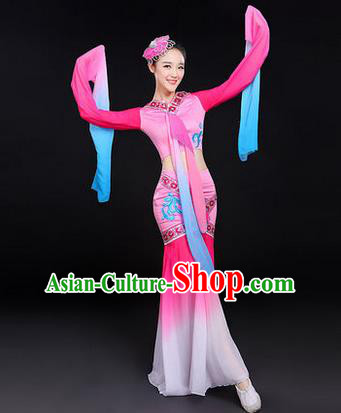 Traditional Chinese Yangge Fan Dancing Costume, Folk Dance Yangko Water-Sleeve Costume Drum Dance Pink Fairy Hanfu Clothing for Women