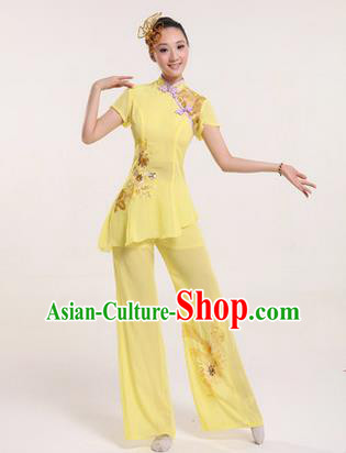 Traditional Chinese Yangge Fan Dancing Costume, Folk Dance Yangko Costume Drum Dance Classic Dance Yellow Clothing for Women
