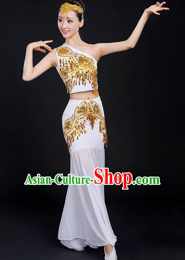 Traditional Chinese Dai Nationality Peacock Dancing Costume, Folk Dance Ethnic Paillette Dress, Chinese Minority Nationality Classic Dance White Costume for Women