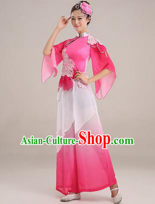 Traditional Chinese Yangge Fan Dancing Costume, Folk Dance Yangko Paillette Dress, Classic Dance Drum Dance Pink Clothing for Women