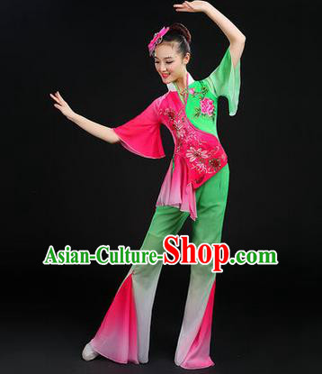 Traditional Chinese Yangge Fan Dancing Costume, Folk Dance Yangko Dress, Classic Dance Drum Dance Peony Clothing for Women