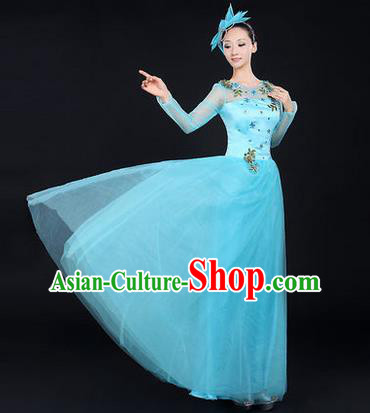 Traditional Chinese Modern Dancing Costume, Women Opening Classic Chorus Singing Group Dance Costume, Modern Dance Blue Bubble Dress for Women