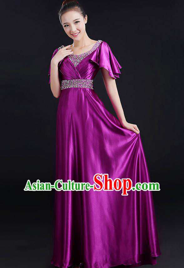 Traditional Chinese Modern Dancing Compere Costume, Women Opening Classic Chorus Singing Group Dance Uniforms, Modern Dance Crystal Long Purple Dress for Women