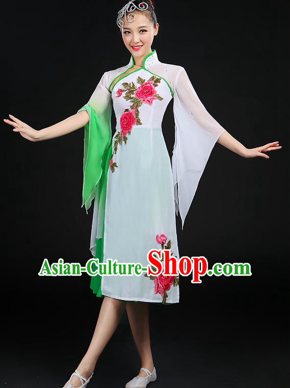 Traditional Chinese Yangge Fan Dancing Costume, Folk Dance Yangko Stand Collar Uniforms, Classic Dance Dress Drum Dance Peony Clothing for Women