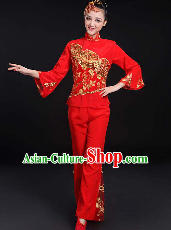 Traditional Chinese Yangge Fan Dancing Costume, Folk Dance Yangko Stand Collar Uniforms, Classic Dance Dress Drum Dance Paillette Peony Clothing for Women