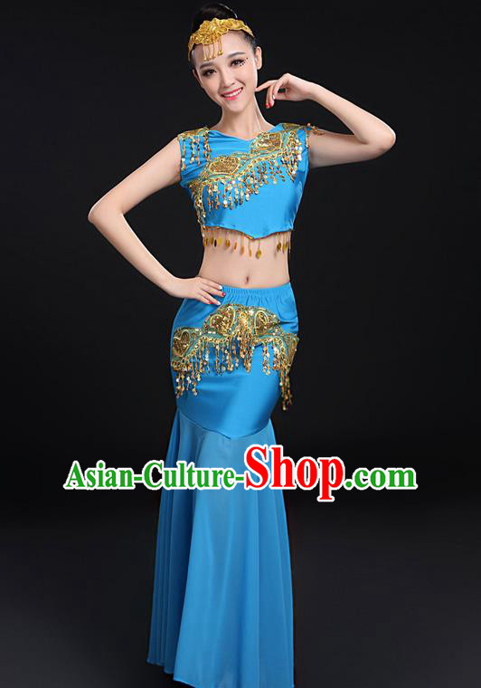 Traditional Chinese Dai Nationality Peacock Dancing Costume, Folk Dance Ethnic Paillette Fishtail Dress Uniform, Chinese Minority Nationality Dancing Blue Clothing for Women