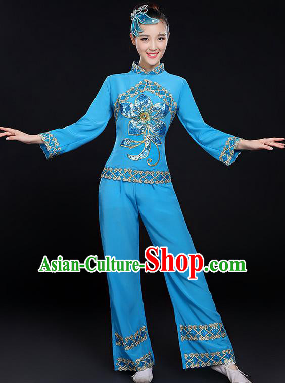 Traditional Chinese Yangge Fan Dancing Costume, Folk Dance Yangko Uniforms, Classic Dance Elegant Dress Drum Dance Paillette Peony Blue Clothing for Women