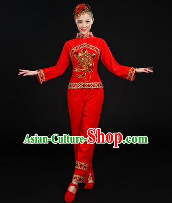 Traditional Chinese Yangge Fan Dancing Costume, Folk Dance Yangko Uniforms, Classic Dance Elegant Dress Drum Dance Paillette Peony Red Clothing for Women