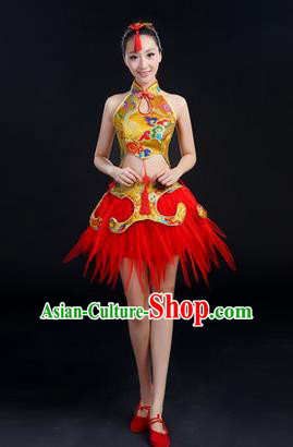 Traditional Chinese Yangge Fan Dancing Costume, Folk Dance Yangko Mandarin Collar Uniforms, Classic Dance Elegant Dress Drum Dance Clothing for Women