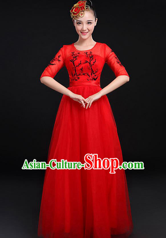 Traditional Chinese Modern Dancing Compere Costume, Women Opening Classic Chorus Singing Group Dance Bubble Uniforms, Modern Dance Embroidered Plum Blossom Long Red Dress for Women