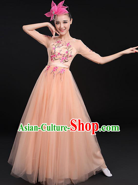Traditional Chinese Modern Dancing Compere Costume, Women Opening Classic Chorus Singing Group Dance Bubble Uniforms, Modern Dance Embroidered Plum Blossom Long Fleshcolor Dress for Women
