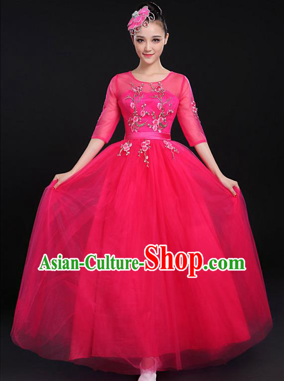 Traditional Chinese Modern Dancing Compere Costume, Women Opening Classic Chorus Singing Group Dance Bubble Uniforms, Modern Dance Embroidered Plum Blossom Long Rose Dress for Women