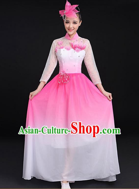 Traditional Chinese Modern Dancing Compere Costume, Women Opening Classic Chorus Singing Group Dance Big Swing Uniforms, Modern Dance Long Pink Flowers Dress for Women