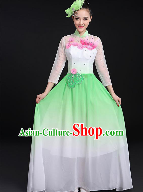 Traditional Chinese Modern Dancing Compere Costume, Women Opening Classic Chorus Singing Group Dance Big Swing Uniforms, Modern Dance Long Green Flowers Dress for Women