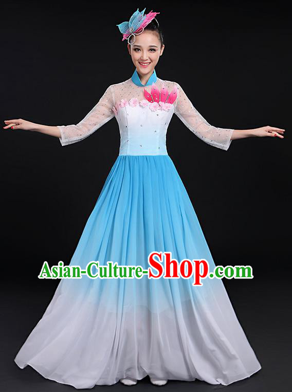 Traditional Chinese Modern Dancing Compere Costume, Women Opening Classic Chorus Singing Group Dance Big Swing Uniforms, Modern Dance Long Blue Flowers Dress for Women