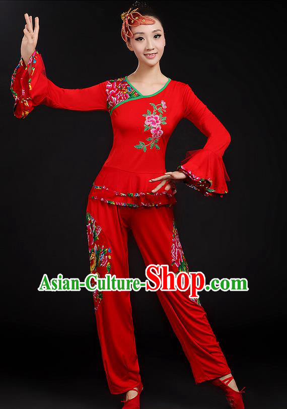 Traditional Chinese Yangge Fan Dancing Costume, Folk Dance Yangko Mandarin Sleeve Uniforms, Classic Dance Elegant Dress Drum Dance Peony Red Clothing for Women