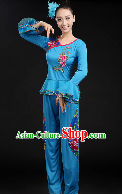 Traditional Chinese Yangge Fan Dancing Costume, Folk Dance Yangko Mandarin Sleeve Uniforms, Classic Dance Elegant Dress Drum Dance Peony Blue Clothing for Women