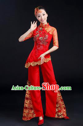 Traditional Chinese Yangge Fan Dancing Costume, Folk Dance Yangko Paillette Uniforms, Classic Dance Elegant Dress Drum Dance Paillette Red Clothing for Women