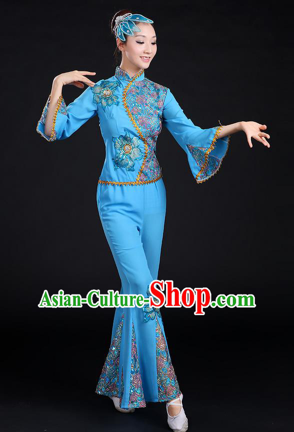 Traditional Chinese Yangge Fan Dancing Costume, Folk Dance Yangko Mandarin Sleeve Paillette Uniforms, Classic Dance Elegant Dress Drum Dance Paillette Blue Clothing for Women