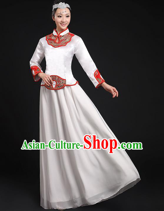 Traditional Chinese Modern Dancing Compere Costume, Women Opening Classic Chorus Singing Group Dance Uniforms, Modern Dance Classic Dance Cheongsam White Dress for Women