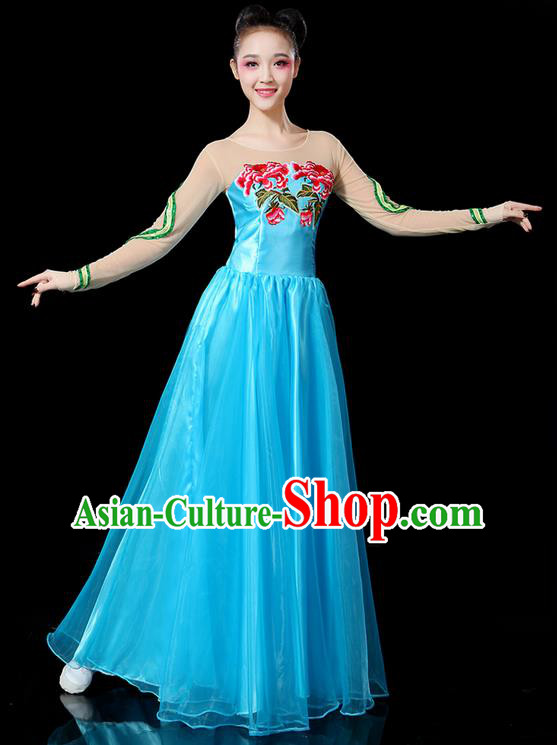 Traditional Chinese Modern Dancing Compere Costume, Women Opening Classic Chorus Singing Group Dance Uniforms, Modern Dance Classic Dance Peony Blue Big Swing Dress for Women