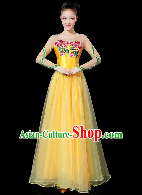 Traditional Chinese Modern Dancing Compere Costume, Women Opening Classic Chorus Singing Group Dance Uniforms, Modern Dance Classic Dance Peony Yellow Big Swing Dress for Women
