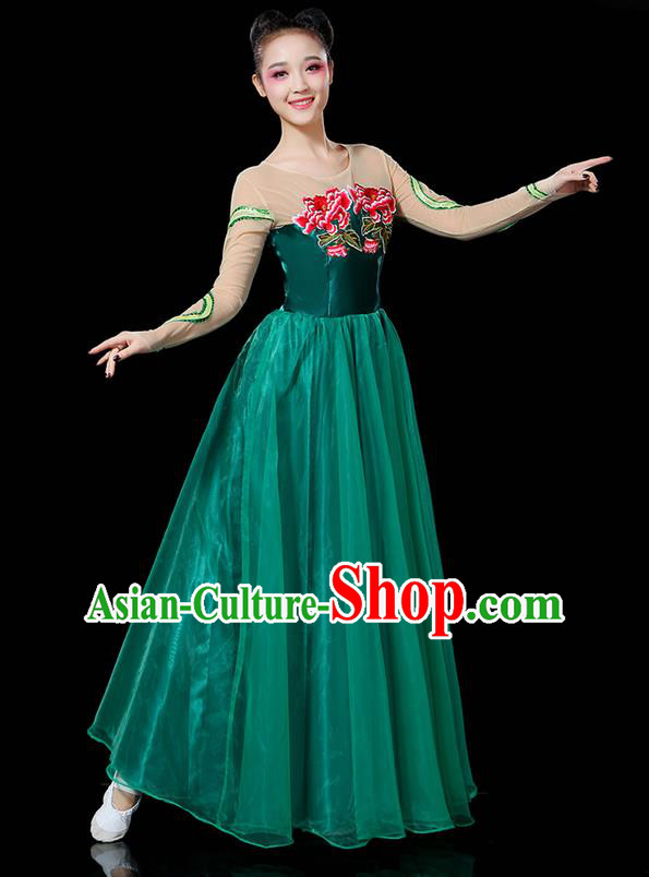 Traditional Chinese Modern Dancing Compere Costume, Women Opening Classic Chorus Singing Group Dance Uniforms, Modern Dance Classic Dance Peony Atrovirens Big Swing Dress for Women