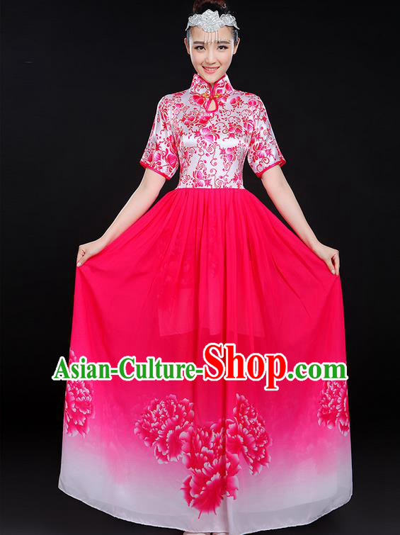 Traditional Chinese Modern Dancing Compere Costume, Women Opening Classic Chorus Singing Group Dance Uniforms, Modern Dance Classic Dance Big Swing Pink Cheongsam Dress for Women