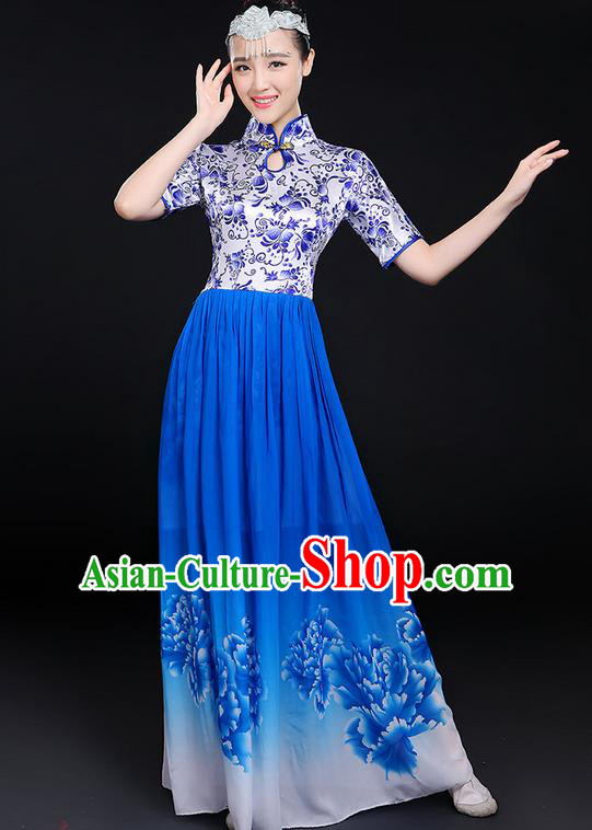 Traditional Chinese Modern Dancing Compere Costume, Women Opening Classic Chorus Singing Group Dance Uniforms, Modern Dance Classic Dance Big Swing Blue Cheongsam Dress for Women