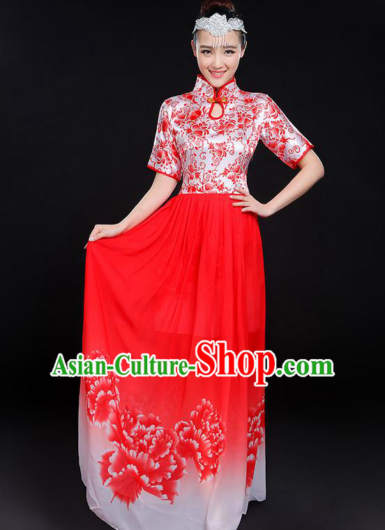 Traditional Chinese Modern Dancing Compere Costume, Women Opening Classic Chorus Singing Group Dance Uniforms, Modern Dance Classic Dance Big Swing Red Cheongsam Dress for Women