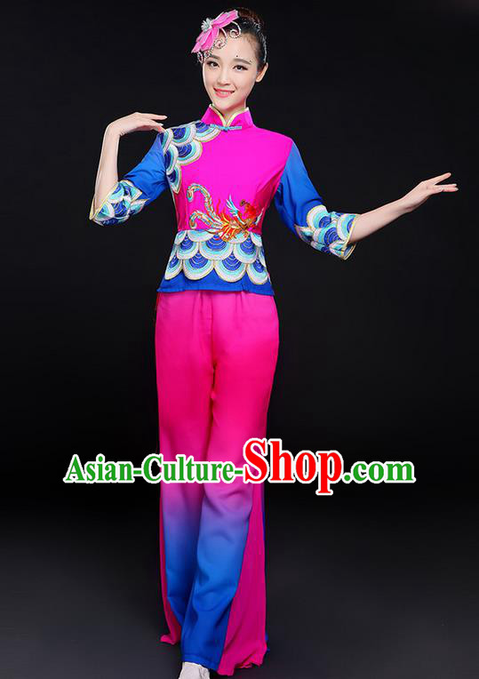 Traditional Chinese Yangge Fan Dancing Costume, Folk Dance Yangko Uniforms, Classic Dance Elegant Dress Drum Dance Clothing for Women