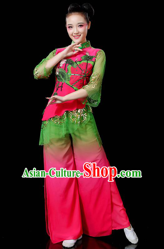 Traditional Chinese Yangge Fan Dancing Costume, Folk Dance Yangko Mandarin Sleeve Uniforms, Classic Lotus Dance Elegant Dress Drum Dance Flowers Clothing for Women