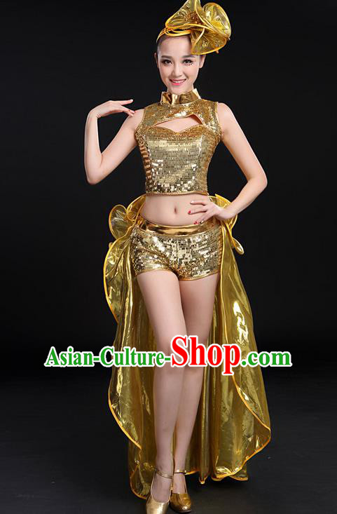 Traditional Chinese Modern Dancing Compere Costume, Women Opening Classic Jazz Dance Uniforms, Modern Dance Jazziness Dance Paillette Dress for Women