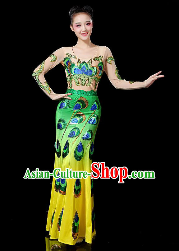 Traditional Chinese Dai Nationality Peacock Dancing Costume, Folk Dance Ethnic Paillette Fishtail Dress Uniform, Chinese Minority Nationality Dancing Green Clothing for Women